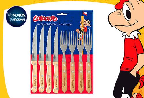 Set 4 Tenedores+4 Cuchillos Condorito