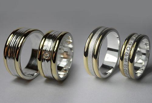 50% Argollas de Matrimonio de Oro 18 Kt.  y Plata Fina 980