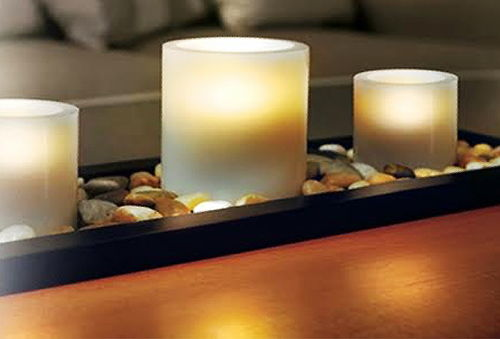 Set 3 Velas Led con Base de Madera y Piedras Decorativas