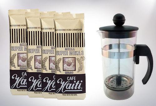 Pack 4 Paquetes Café Moka Molido Haiti + Cafetera Francesa