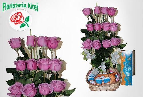 Dulcero 24 Rosas Rojas Tipo Exportación con Arequipitos