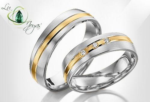 Argollas de Matrimonio en Oro - Plata y Circón Suizo