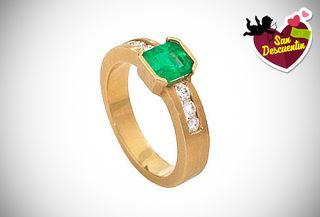 Anillo de Oro de 18K a Elección + Esmeralda + Diamantes