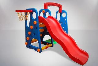 Estación de juego niños resbalín+ columpio + aro basquet