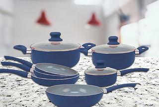 Set Batería de Cocina 10 Piezas de Piedra Azul