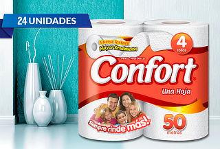 Pack 24 Rollos Papel Higiénico Confort Hoja Simple
