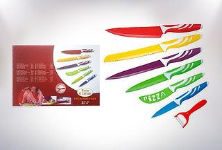 Set de 6 cuchillos + pelador de acero inoxidable cerámico