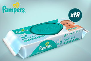 Pack 18 toallitas húmedas Mainline Fresh Clean Pampers