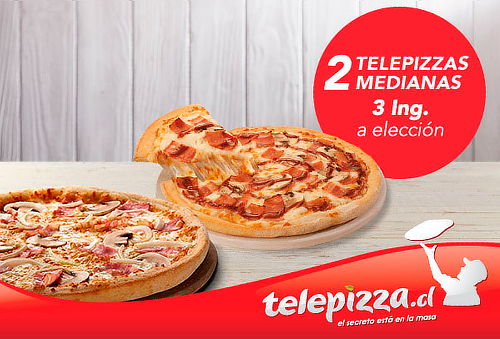 Telepizza: 2 Pizzas Medianas o Familiares 3 ing. a elección