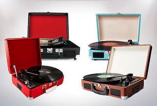 Tocadiscos con maleta, diferentes colores