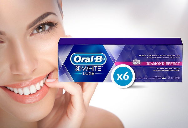 Pack 6 Pastas Dentales Oral-B 3D White Luxe 75 ml