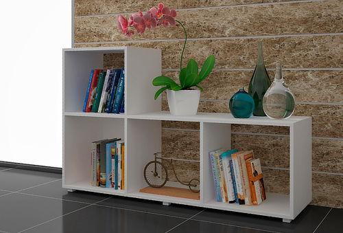 Mueble en L de 4 Divisiones, Color Blanco