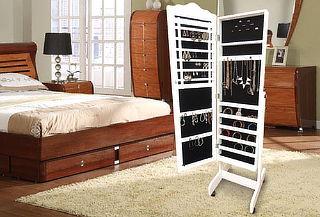 Mueble Espejo Joyero con Soporte, Color Blanco