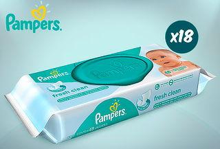 Pack de 18 Toallitas Húmedas Mainline Fresh Clean de Pampers