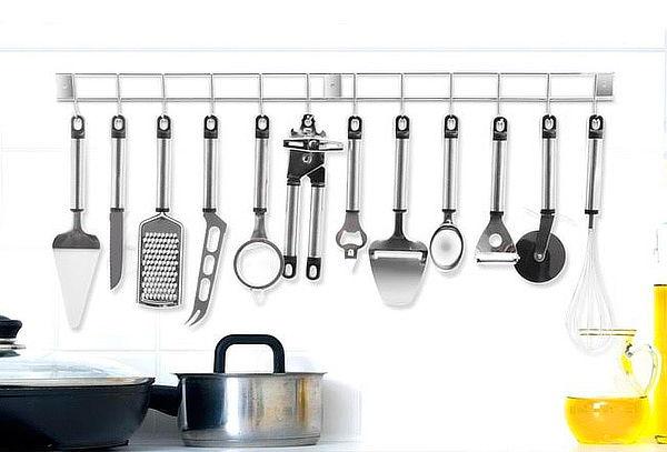 Set de 12 utensilios de cocina m s barra met lica for Herramientas para cocina