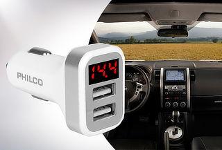 Cargador Auto Doble USB con Pantalla LED