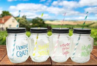 Set de 4 Jarros de Vidrio para Bebidas
