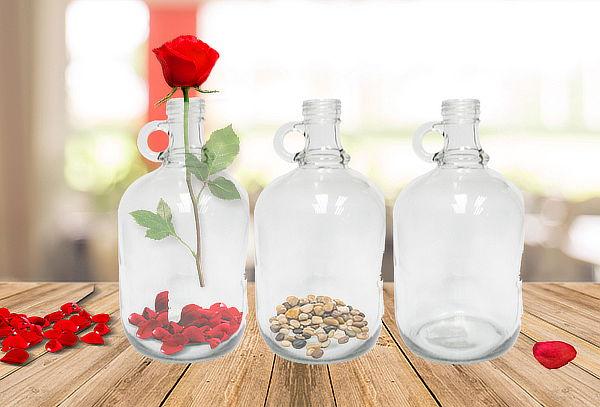 Pack de 3 Botellas de Vidrio Decorativas
