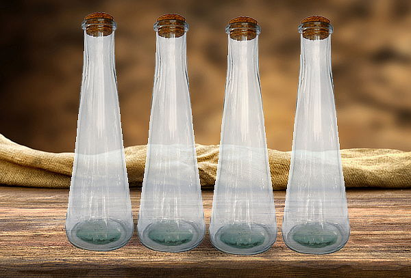 Pack de 4 Botellas con Tapa de Corcho