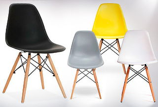 Pack 4 Sillas Eames Wood color Negro