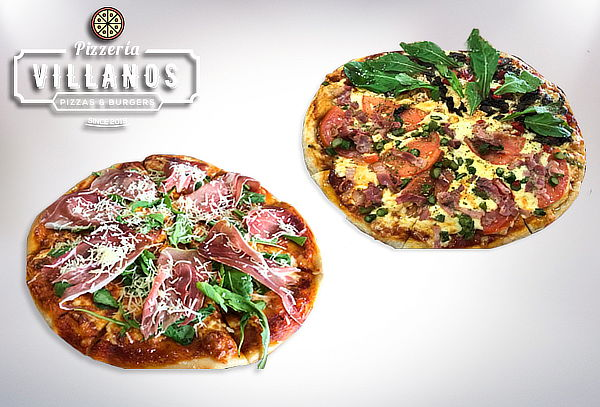 2 Pizzas Familiares Pepperoni + Vegetariana, Villanos Pizza