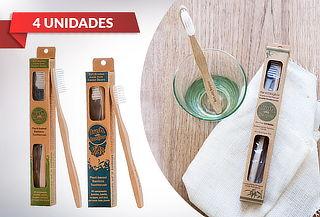 Pack 4 Cepillos de Dientes Bamboo para Adultos y Niños