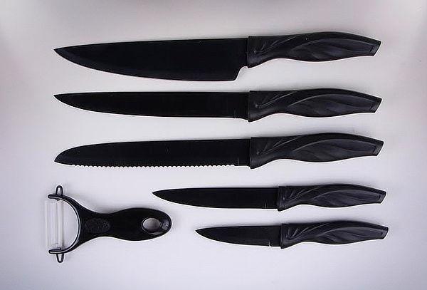Set 5 Cuchillos Cerámica + Pelador Negro