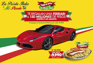 Fontana di pasta Piccola Italia + Sorteo Auto Ferrari Spider