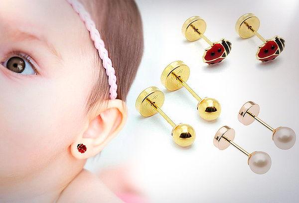 Aros Abridores de Oro para Bebés, modelo a elección