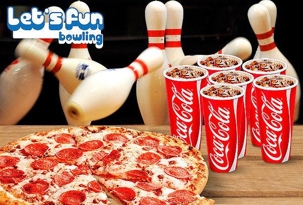 1 Hora de Bowling + Pizza Mediana + 6 Bebidas en Let's Fun