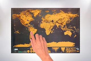 1, 5 o 10 Mapamundis Raspables Color Negro