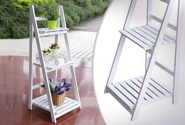 Estante de Madera Modelo Escalera 3 Repisas Color Blanco