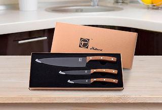 Set 3 cuchillos con mango de madera
