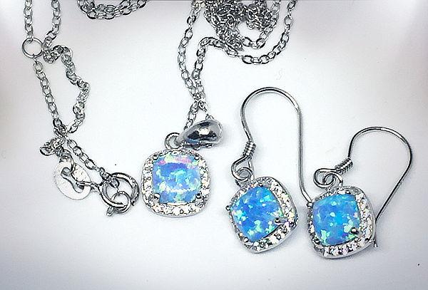Set 2 Piezas, Collar y Aros, Plata Opalo Azul Cuadrado