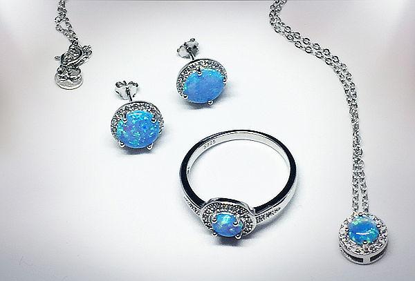 Set 3 piezas, Collar, Aros y Anillo, Plata Opalo