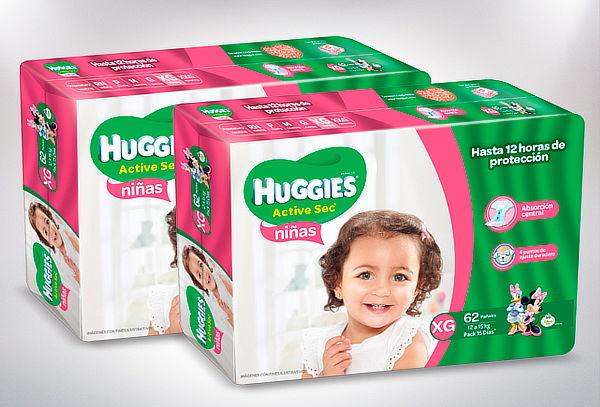 Pack 3 Paquetes Huggies Niña XG – 186 Pañales