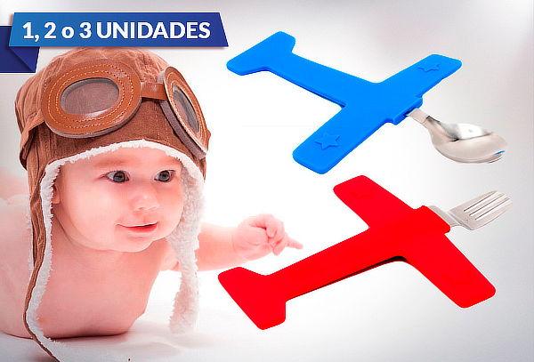 1, 2 o 3 Tenedor y Cuchara Modelo Avión para Niños