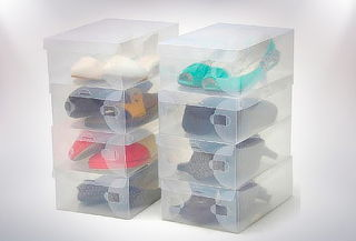 Pack 10 Cajas Plásticas Organizadoras de Zapatos