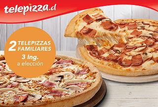 Telepizza: 2 Pizzas Familiares, 3 Ing. a Elección
