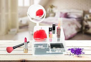 Organizador de 2 Piezas con Espejo para Maquillaje