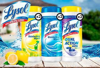 Pack de 6 toallitas desinfectantes wipes Lysol