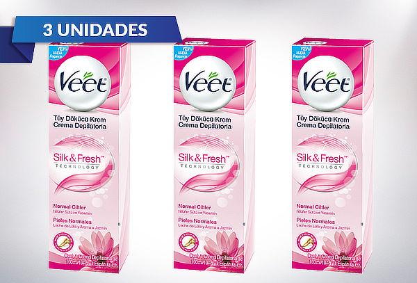 Pack de 3 Veet Crema Depilatoria Corporal Silk & Fresh