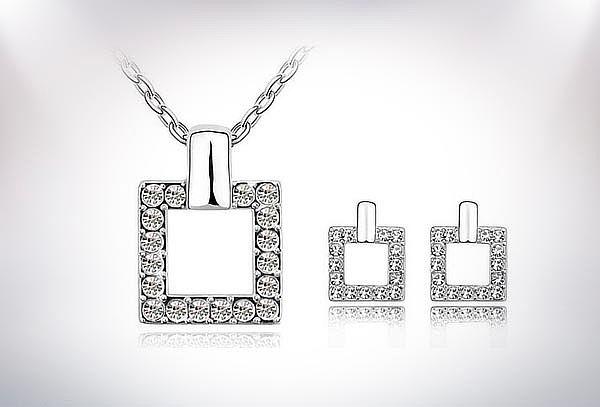 Collar + Aros Hipoalergenicos con Cristales