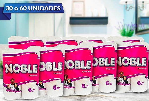 Pack 30 o 60 Rollos de Papel Higiénico Doble Hoja 22mt Noble