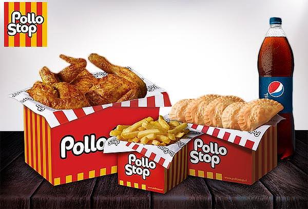Pollo Entero +Papas Simples +5 Empanadas +Bebida Pollo Stop