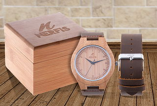 2eaf99290ffb Outlet - Reloj de Madera Nerfis Correa de Cuero