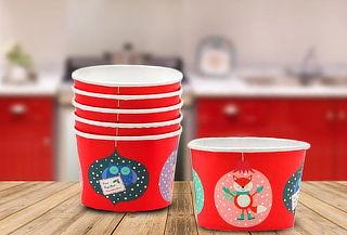 Set de 12 Bowls Desechables Rojos con Diseños