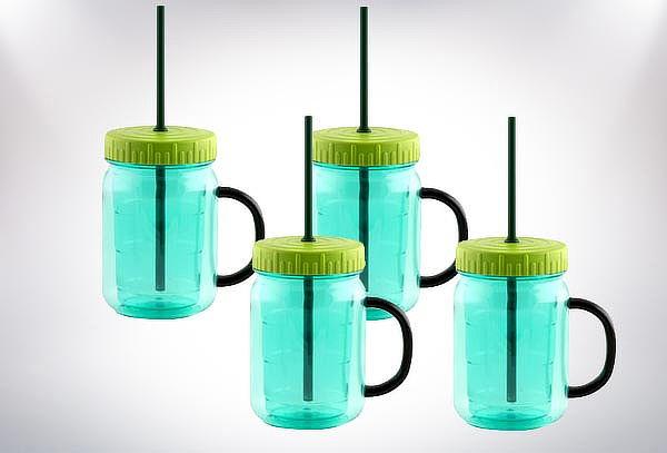 2 o 4 Frascos Mugs de Vidrio