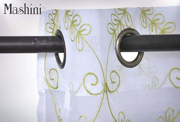 Set de Cortinas Velo Bordado Argolla 140x220