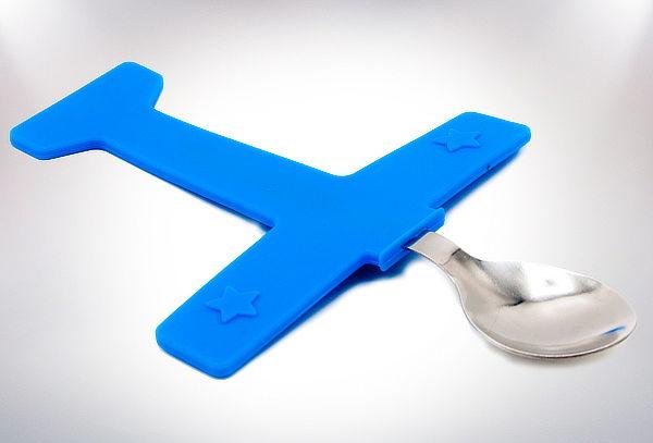 Tenedor y Cuchara Modelo Avión para Niños